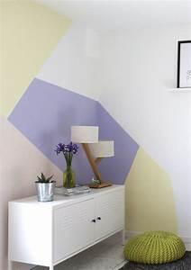 peinture murale motifs geometriques idees deco With idee deco peinture murale