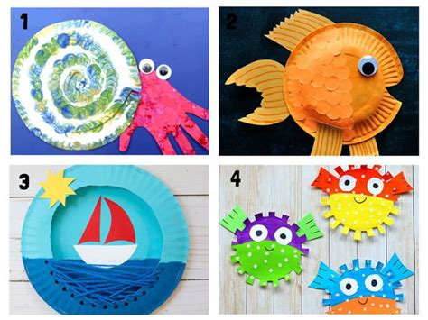 20 awesome paper plate crafts craft room 551 | Paper Plate Ocean Crafts Steps 1 4
