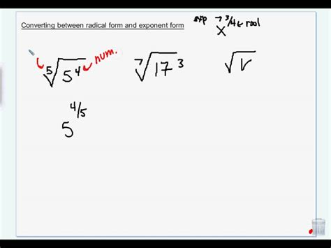 converting  radical form  exponent formwmv
