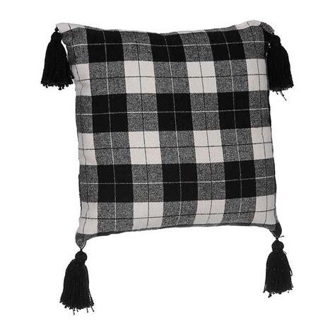 black  white plaid tassel pillow  kirklands