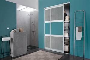 kazed portes de placard coulissantes karma 2 melamines With porte d entrée alu avec modele salle de bain petite surface