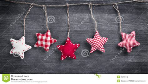 Christmas Vintage Decorations Hanging On String Stock