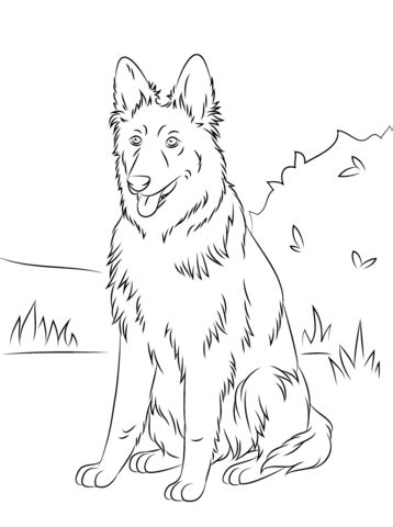 german shepherd sitting coloring page  printable coloring pages