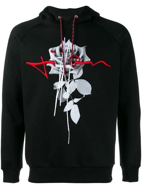 dior homme rose print hoodie  black  men lyst