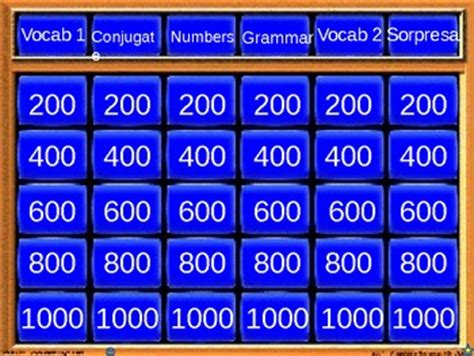 powerpoint jeopardy template review  spanish