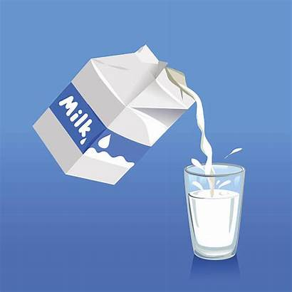 Milk Pouring Glass Into Vector Clipart Illustration