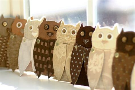 upcycled fabric paper owls flax twine