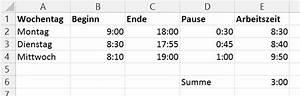 Arbeitszeit Mit Excel Berechnen : wie kann man in ms excel arbeitsstunden ber die zeit funktion berechnen ~ Themetempest.com Abrechnung
