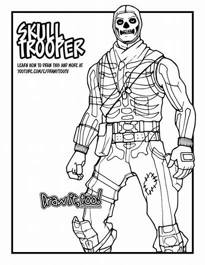 Fortnite Coloring Pages Skull Trooper Royale Battle