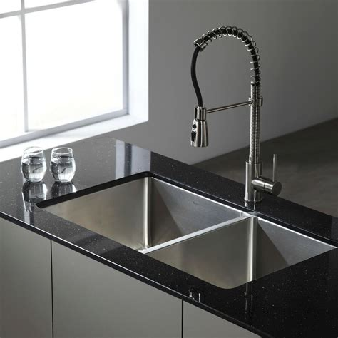 stainless steel kitchen sink kraus 33 inch undermount 50 50 bowl 16