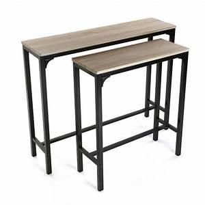 Console Style Industriel : console d entree style industriel metal noir bois versa set de 2 ~ Teatrodelosmanantiales.com Idées de Décoration