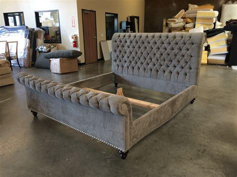 bathroom grey tufted upholstered sleigh bed platform for