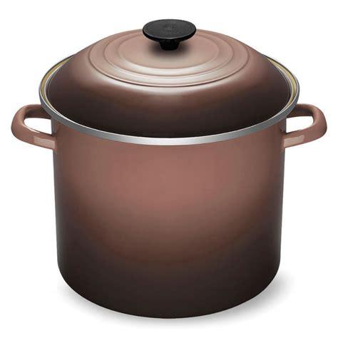 enamel stock pot le creuset enameled steel stock pot 12 quart truffle 3567