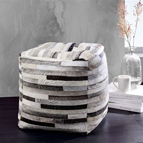 How To Soften Cowhide - soft stripes cowhide pouf west elm