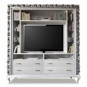 Mobile tv classico 4 cassetti e ripiani in cristallo for Mobile tv classico
