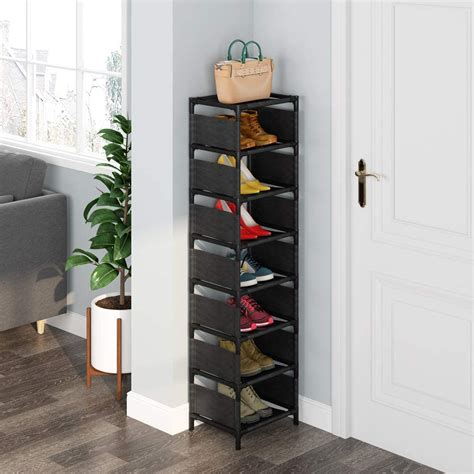 7 tiers vertical shoe rack narrow shoe shelf space saving