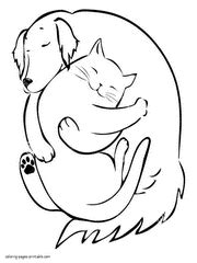 dog  cat coloring pages  printable pictures