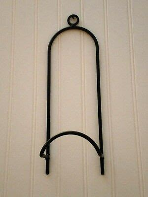 amish forged black wrought iron plate holder strong hand crafted wall rack ebay