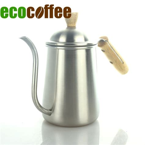 coffee pour kettle pot maker stainless tea steel spout long v60 mouth 600ml cups gooseneck aliexpress pots thermometer quality handle