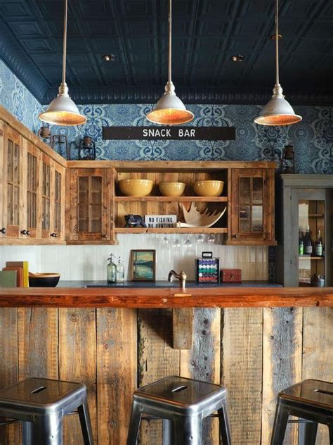 rustic kitchen snack bar area pic  rustic kitchen