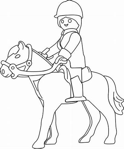 Playmobil Coloring Pages Coloriage Cheval Silhouette Colouring