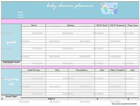Baby Shower Planner Template by Baby Shower Planner Organizer Printable Pdf Instant