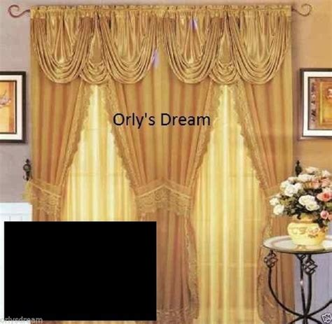 sheer lace window curtain set w satin valance