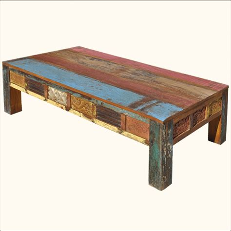 Rustic coffee table idea is a part of 17 best diy rustic coffee table ideas you must try pictures gallery. Old Reclaimed Wood Rustic Hand Carved Distressed Painted Coffee Table Furniture | eBay