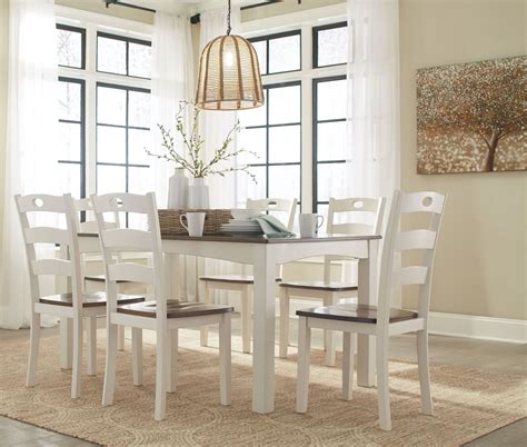 woodanville white  brown  piece dining room set