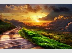 Country road at a beautiful sunset HD wallpaper