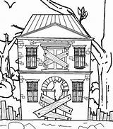 Haunted Coloring Pages Scary Halloween Printable Windows Scribblefun Closed sketch template