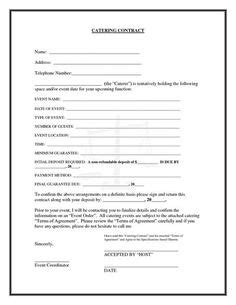 Free Downloadable Catering Contracts Forms | Catering