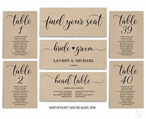 Rustic Wedding Seating Chart Template, Header Signs And