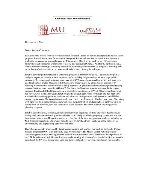 personal recommendation letter graduate school templates