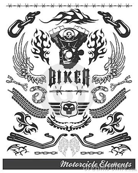 chopper motorcycle elements vector eps stock images