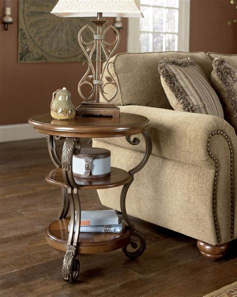 NEW Traditional Round End Coffee Table Wood Metal Living Room Chair Side Display   eBay