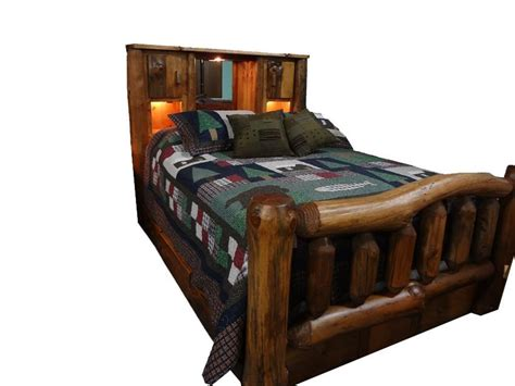 bed with bookcase footboard amish rustic pine log bed with bookcase headboard