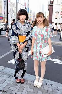 Flower, Print, Yukata, Vs, Colorful, Dress, U0026, Round, Glasses, In, Harajuku