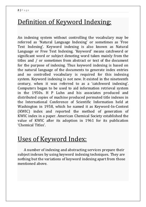 key word indexing   types