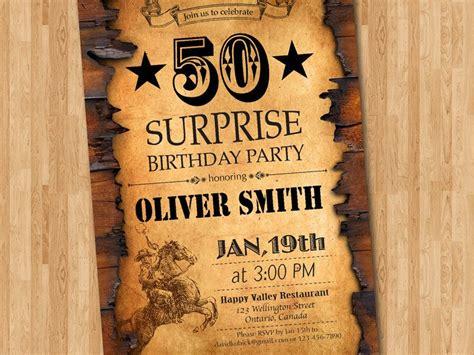 50th Birthday Invitation Western Theme Birthday for Men