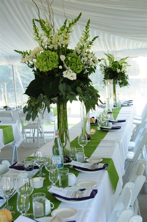 green country wedding with tall green wedding reception