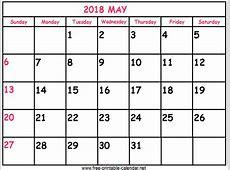 Print Calendar 2018 May