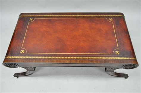 leather top coffee table vintage weiman regency tooled leather scroll top crotch