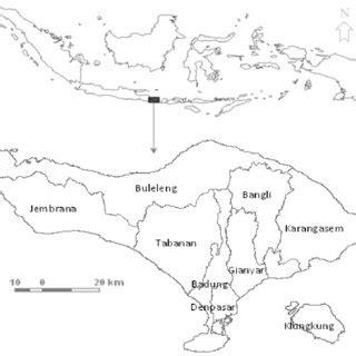 map   study area bali province consists
