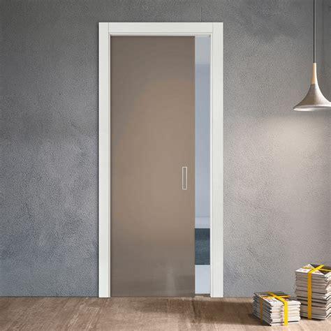 Porta Vetri Scorrevole Porta Scorrevole A Scomparsa In Vetro Satinato 3001