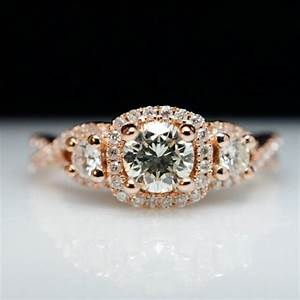 three stone diamond halo rose gold engagement ring With 3 ring wedding set