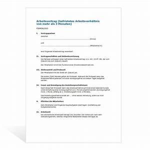 Kündigung Mietvertrag Bis Zum 3 Werktag : muster befristeter arbeitsvertrag ~ Lizthompson.info Haus und Dekorationen