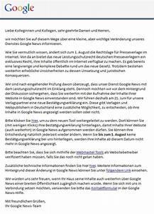 Google Einverständniserklärung : leistungsschutzrecht einverst ndniserkl rung zur weiteren aufnahme in den google news n tig ~ Themetempest.com Abrechnung
