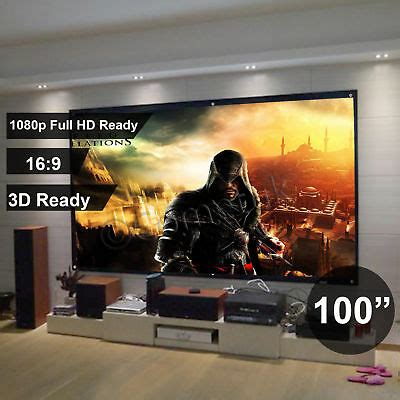 """100"""" Inch Projector Projection Screen 16:9 White Matte 3D"""