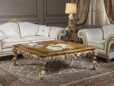 Salotto Classico Imperial In Pelle Bianca Con Tavolino